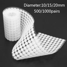 500/1000 pares de pontos auto adesivo prendedor fita 10/15/20mm disco velcros adesivo forte cola mágica moedas redondas gancho loop