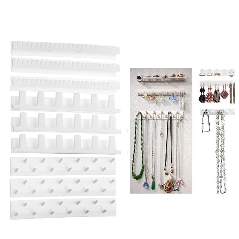 9pcs / Set Adhesive Earring Ring Jewelry Hanging Hanger Holder Rack Sticky Hooks Organizer Display Stand Storage Jewelry Box