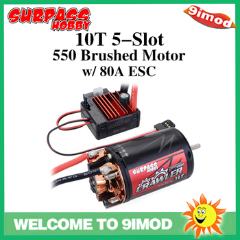 550 10T 12T Brushed Motor Waterproof 5-Slot w/ BCD80A ESC for Tamiya Redcat Kyosho TRAXXAS WLtoys 1/10 RC Crawler Car surpass hobby 5 slot 540 20t brushed motor for hsp hpi tamiya fs kyosho traxxas yokomo wltoys 1 10 rc car