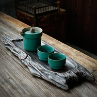 Japanese Yi Pot Two Cups of Tea Set Imitation Wood Ceramic Tray Teapot Set Kung Fu Tea European Tea Set sopera de ceramica