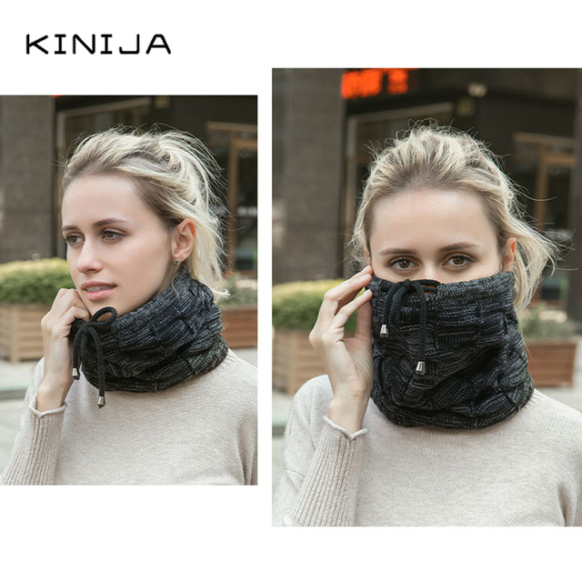 Hat scarf dual purpose set women Autumn Beanies fleece hat Knitted Plush Wool Cap Winter men Outdoor Windproof protect face neck 4