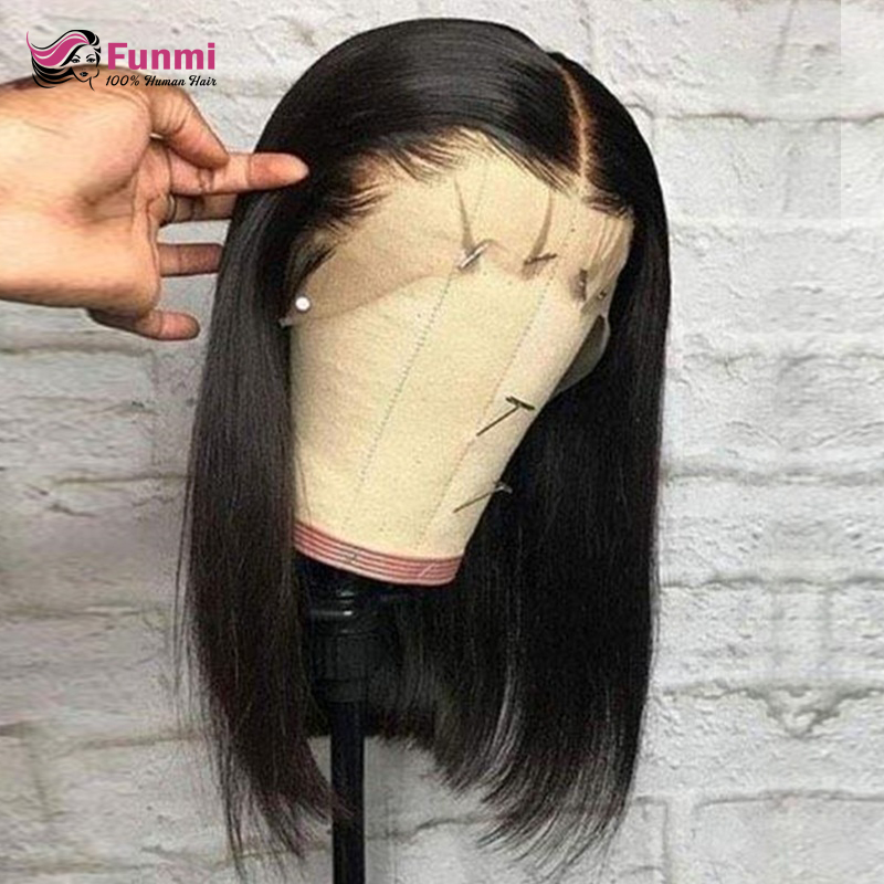 13x4 Lace Short Bob Wigs 130% Brazilian Remy Hair Can Be Dyed Lace Front Human Hair Wigs Pre-Plucked Bleached Knots Funmi Hair