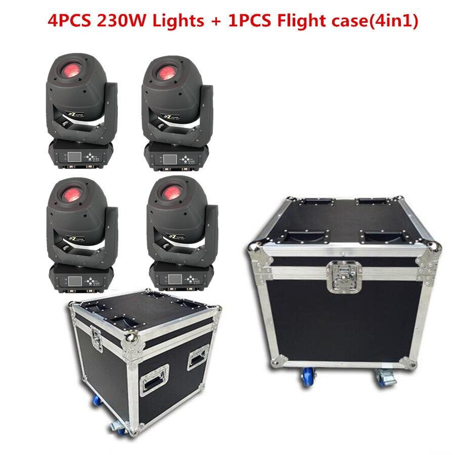 4PCS Lights + 1PCS Flight Case LED 230W 3IN1 Moving Head/SPOT/WASHS Tage Lighting Ldisco Dj Stage Lights Dmx Spot Ed Zoom Lights