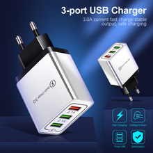 3 Port USB Charger Mobile Phone charge Quick QC 3.0 Fast Charging Wall Charger EU Plug Adapter for iPhone Huawei Xiaomi Samsung цены