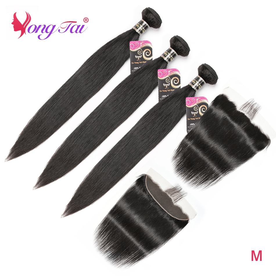 Yuyongtai cabelo reto indiano 3 pacotes com frente extensão do cabelo humano pacotes de cor natural com frente remy cabelo m