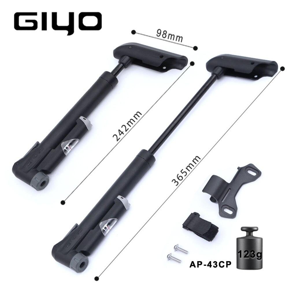 GIYO-pompe à Air pour vélo GP-41S/61S, AP-43CF, fabriqué à taïwan, avec manomètre, Mini pompe à Air pour vélo de montagne, accessoires de cyclisme (A/V) (F/V)