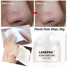 Lanbena plantas poros tiras nariz preto dot máscara removedor cravo creme poros tiras nariz acne limpeza descascar fora máscara de lama 30g