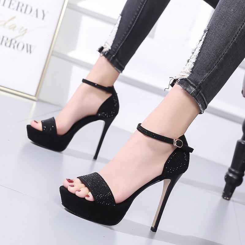 High heeled women sandals 2019 new word buckle high heels fine with nightclub 12CM waterproof platform rhinestone ladies shoes in High Heels from Shoes