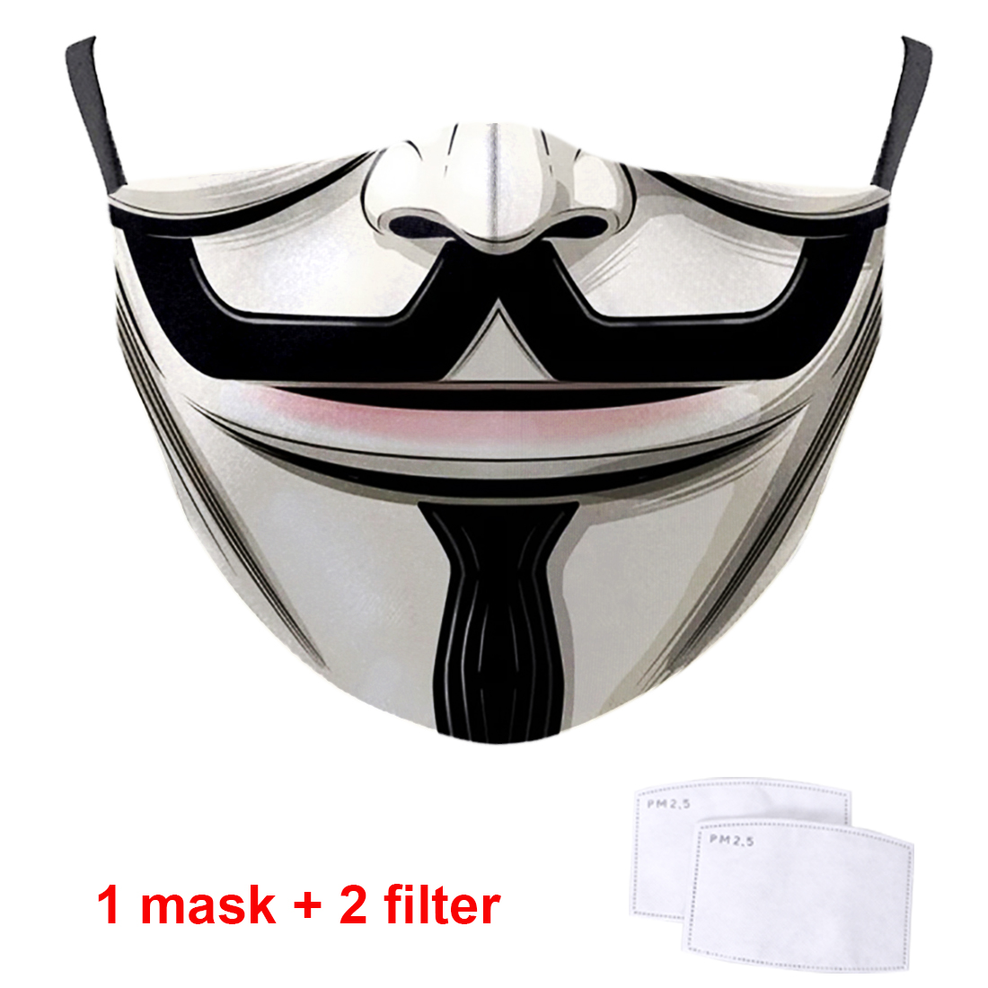 V For Vendetta Print PM2.5 Filter Cover Mouth Muffles High Quality Washable Reusable Anti Dust 3D Half Face Masks For Women Man