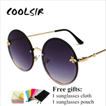 COOLSIR 2019 Bee Round Sunglasses Show A Slim And Well-Matched Pair Of Rimless Retro Big Circle Glasses Oculos