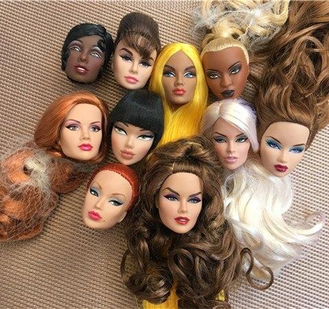 Coleção rara cabeça de boneca fr cabeças de boneca adele jem maquiagem cabeça qualidade boneca cabeça menina vestir diy brinquedo peças