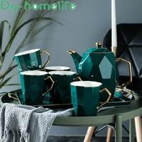 Nordic Phnom Penh Green Diamond Pattern Ceramic Coffee Tea Set Hotel Household Bone China Coffee Pot Cup Coffee Set Water Bottle