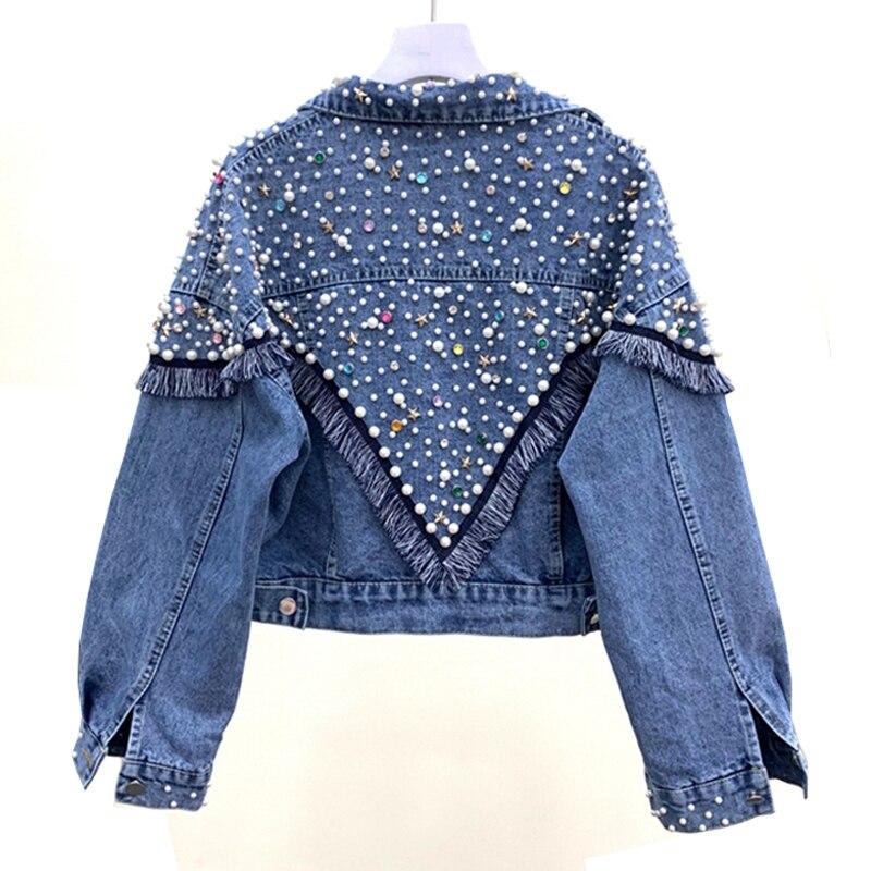 2019 printemps automne nouveauté veste en Denim lâche femmes diamants Jeans manteau décontracté femme courte veste pardessus XZ319
