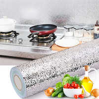 Kitchen Oil-proof Waterproof Stickers Aluminum Foil Kitchen Stove Cabinet Self Adhesive Wall Sticker DIY Wallpaper