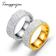 Tangguji Fashion Rhinestone Stainless Steel Gold Silver Ring For Women Men Wedding 5 Row Crystal Vintage Engagement Ring Jewelry double ring crystal rhinestone stainless steel and ceramic ring for women girl fashion jewelry wedding party healthy jewelry