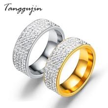 Tangguji Fashion Rhinestone Stainless Steel Gold Silver Ring For Women Men Wedding 5 Row Crystal Vintage Engagement Ring Jewelry vintage rhinestone artificial crystal ring for women