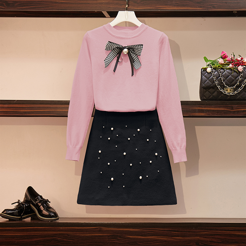 HAMALIEL Sweet Student Two Piece Set Autumn Winter Women Pink Bow Knitted Loose Pink Sweater Top +Beading Tweed A Line Skirt Set