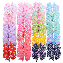 New arrival 10 pieces multicolor sun flower floral baby hair clip mini ribbon bow for girl accessories