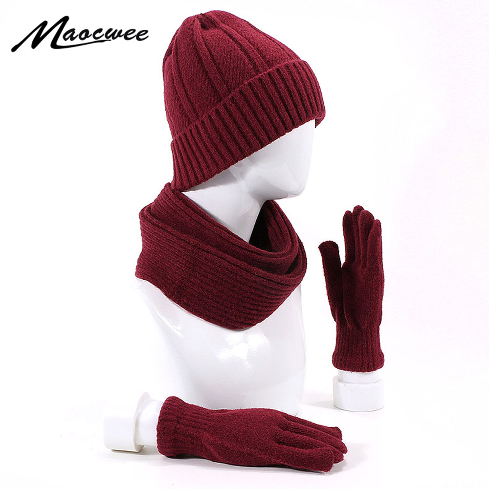 3 Pieces Winter Set Women Men's Beanie Hat Scarf&Gloves Set Outdoor Warm Thicken Winter Hat Scarf Gloves Unisex Accessories Gift
