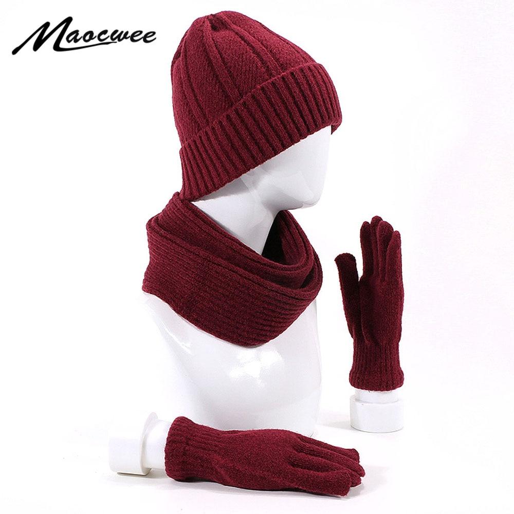 3 Pieces Winter Set Women Men's Beanie Hat Scarf&Gloves Set Outdoor Warm Thicken Winter Hat Scarf Gloves Unisex Accessories Gift