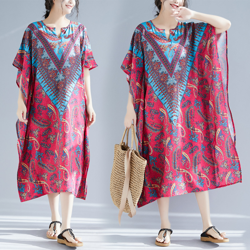 2019 Summer New Style Ethnic-Style WOMEN'S Dress Retro Chiffon Printed Loose And Plus-sized Skirt Casual Dress Robe