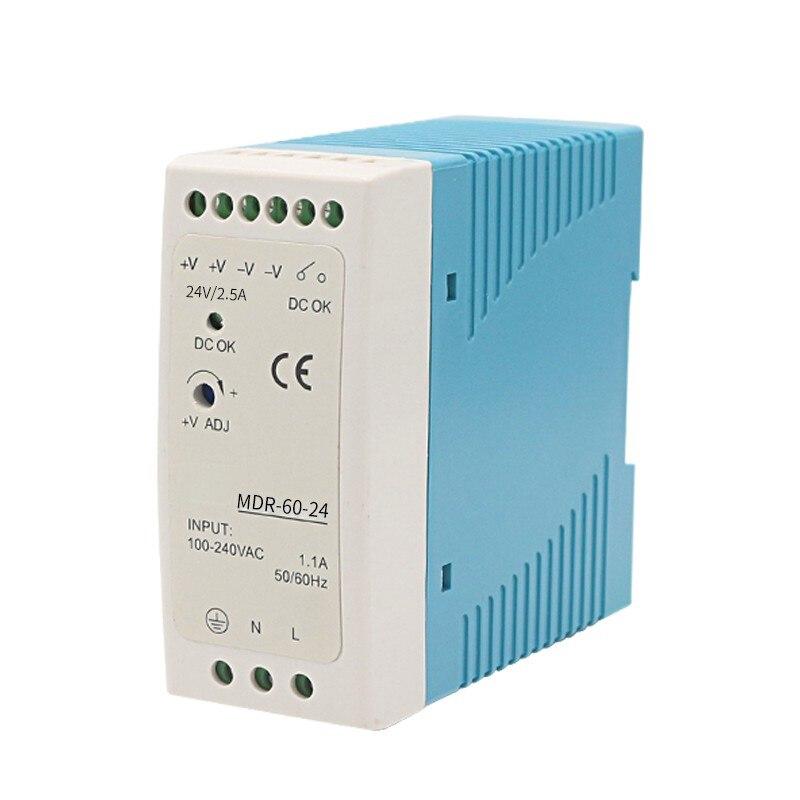 MDR-10 20 30 40 60 100 12V 24V  10W 60W100W Din Rail power supply ac-dc driver Transformers for LED Strip Light 120V to 370V-1