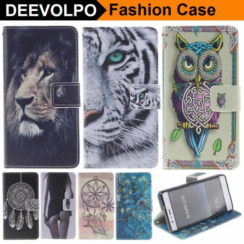 Case For Fundas Huawei P9 Lite Mini P10 P8 Lite 2017 Y3 Y5 2017 Honor 8 9 Case Tiger Owl Wind Chime Luxury Flip Cover Capa DP26F