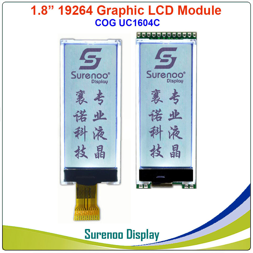 19264 192*64 Graphic Matrix Serial SPI COG LCD Module Display Screen Build-in UC1604C Controller In 3.3V