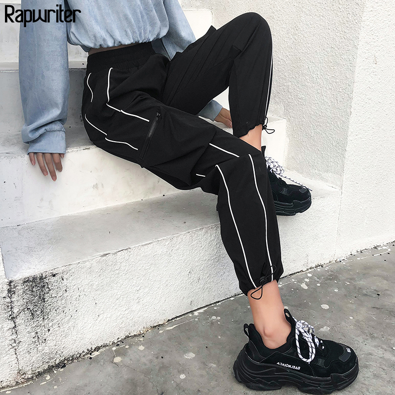 Rapwriter Streetwear Striped Patchwork Cargo Pants Women Elastic High Waist Pants Harajuku Sweatpants Joggers Women Capris Black