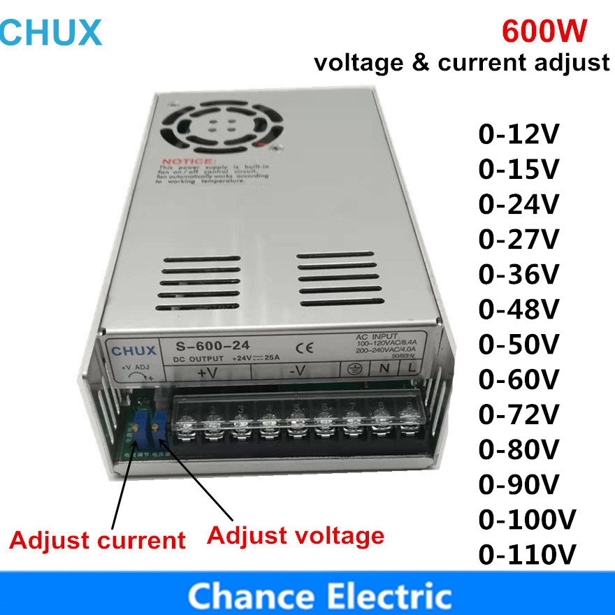 600W Adjustable Switching <font><b>power</b></font> <font><b>supply</b></font> 0-12v 15v <font><b>24v</b></font> 27v 36v 48v 50v 60v 72vLED Switch <font><b>Power</b></font> <font><b>supplies</b></font> SMPS image