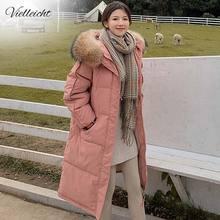 Vielleicht 2020 Long Winter Coat Women Hooded Down Parka Ladies New Warm Winter Jacket Women Loose Big Fur Collar Jacket Coat
