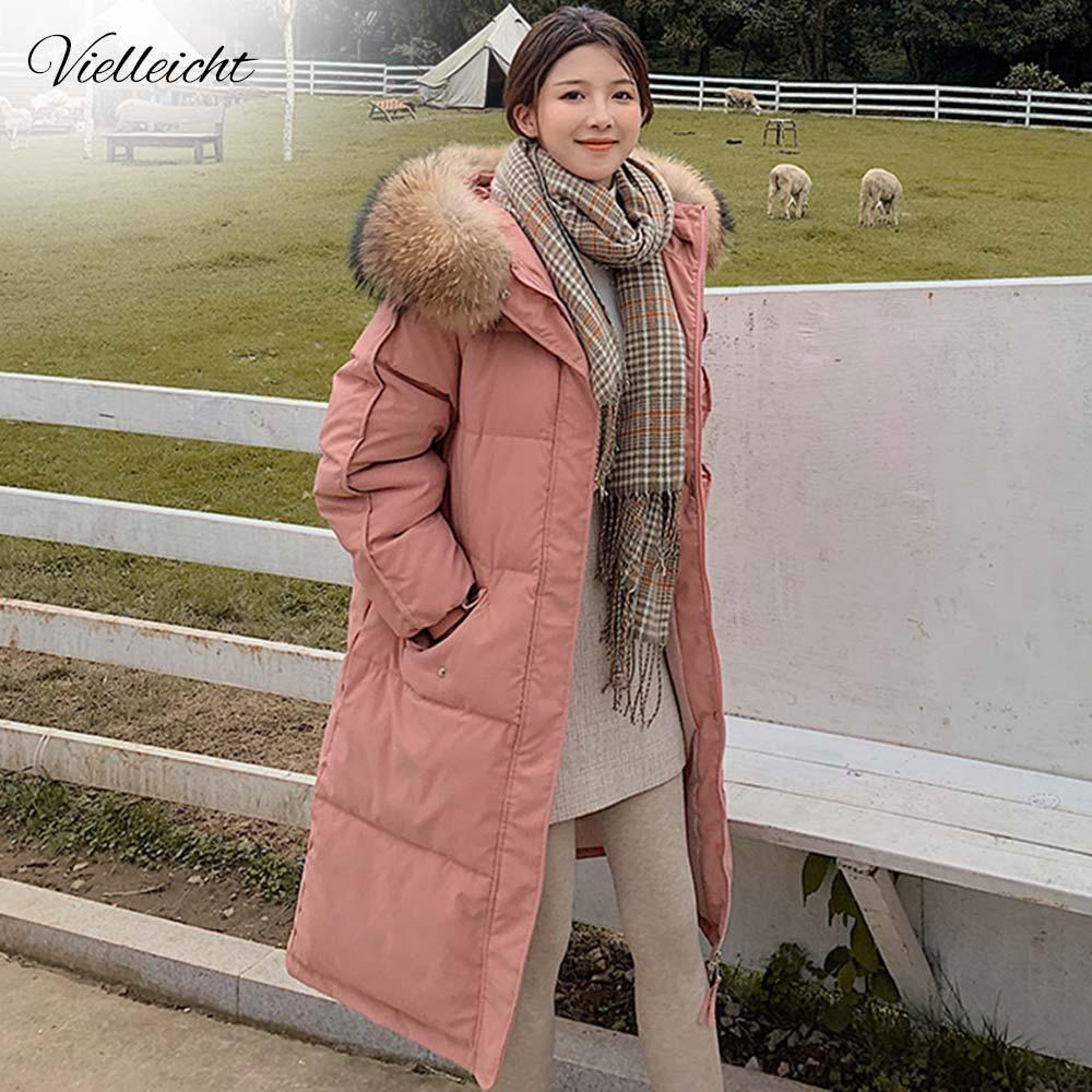 Длинное зимнее пальто Vielleicht 2020, женская пуховая парка с капюшоном, женская новая теплая зимняя куртка, женская Свободная куртка с большим меховым воротником|Парки| | АлиЭкспресс