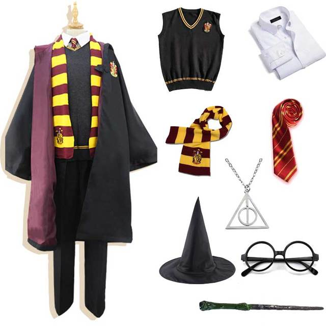 Men Women Kids Gryffindor Slytherin Costume Magic School Uniform Sweater Shirt Tie Glasses Wizard Cap Party Hallowen Costume