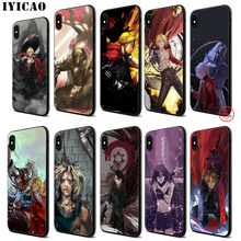 IYICAO Fullmetal alchemist Anime Soft Black Silicone Case for iPhone 11 Pro Xr Xs Max X or 10 8 7 6 6S Plus 5 5S SE iyicao sailor moon anime soft black silicone case for iphone 11 pro xr xs max x or 10 8 7 6 6s plus 5 5s se