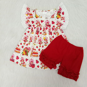 girl clothing set kid outfit lace flutter sleeve top and red shorts outfit 2 piece boutique clothing set for child clothes set