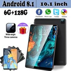 Nuevo Android 8,1 Tablet 10,1 pulgadas RAM 6 GB ROM 128GB RAM 4G tarjeta SIM Dual tres Cámara regalos gratis