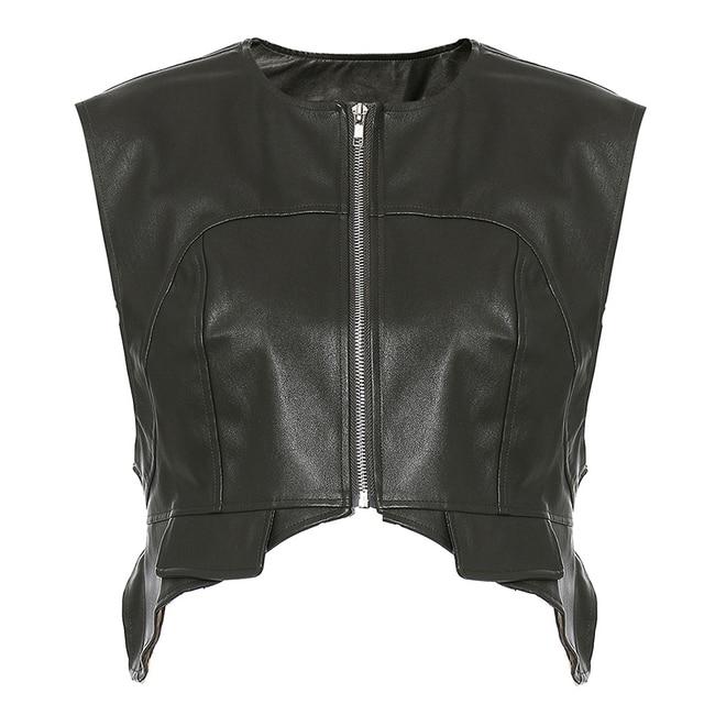 [EAM] Women Loose Fit Irregular Pu Leather  Zipper Vest New Round Neck Sleeveless Fashion Tide Spring Autumn 2021 1DD0726 2