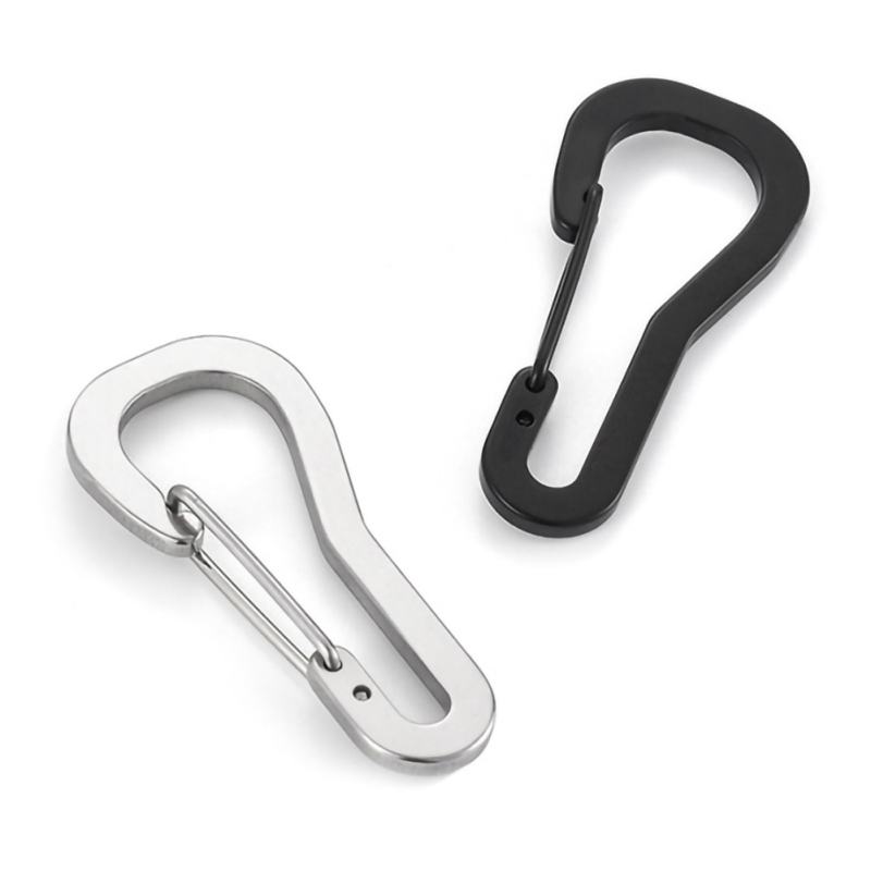 Stainless Steel Keychain Carabiner Clip Snap Hook Keyring Hanging Buckle Car Keychain Holder Outdoor Travel Climbing EDC Tool