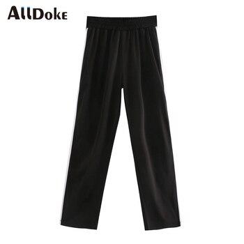 ALLDOKE high waist black casual split pants women knitted side stripe loose trousers mujer ladies sexy wide leg pants femme stripe contrast split pants