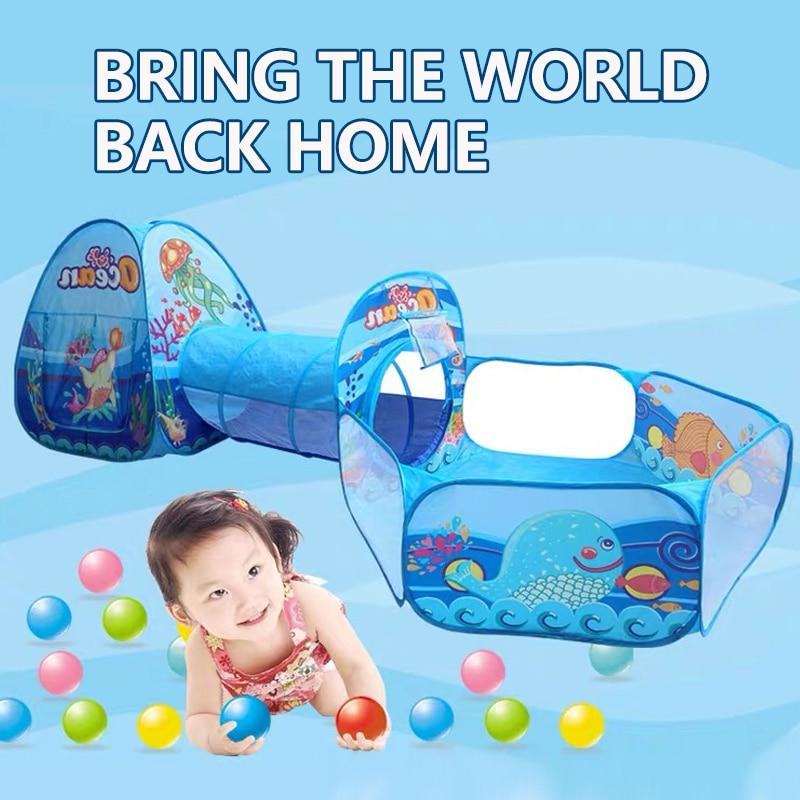 Детский тент с океаническим шариком, Игровая палатка для детей, надувной бассейн с корзиной, игрушки для детей, балленбак, туннель для полза...