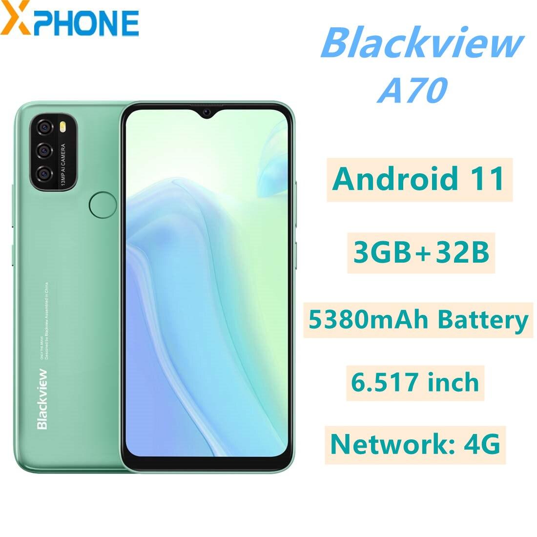 Blackview A70, 3 Гб оперативной памяти, 32 Гб встроенной памяти, Android 11 6,517 дюймов 5380 мА/ч, Батарея сети 4G Face ID и идентификация по отпечатку пальца моби...