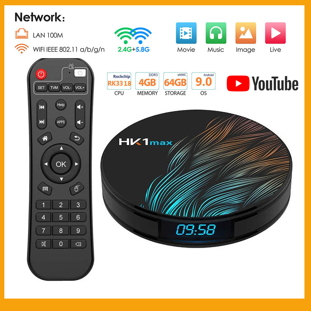HK1 Max Smart TV Box Android 9.0 4GB 32GB 64GB 128GB Rockchip 4K youtube Wifi Netflix Android TV mi boîtier décodeur adapté iptv image