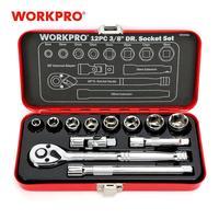 """Workpro 12 pc conjunto de ferramentas reparo em casa 3/8 """"dr sokcet conjunto caixa de metal conjunto chave de fenda torque catraca Conjuntos ferramenta manual     -"""