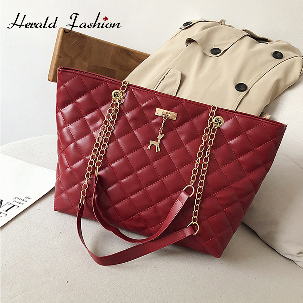 Casual Women Plaid Hand Bag Designer Chain Diamond Pattern Female Shoulder Messenger Bag Large Capacity Office Lady Travel Bag