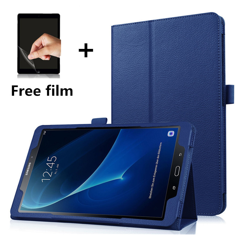 Tablet Case For Samsung Galaxy Tab A A6 10.1 2016 T585 T580 SM-T580 T580N PU Leather Slim Folding Litchi Style Funda Cases+Film