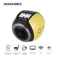 AOSHIKE Panoramic Action Camera 3D VR 360 Camera Action Sports Camera WiFI 4K Video Mini Panoramic Sports Driving Cam Car DVR