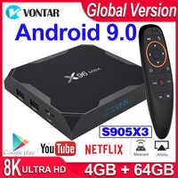 Smart TV BOX X96 Max X3 Android 9.0 TV Box X96Max 4K Media Player Amlogic S905X3 8K Android Box 2.4G&5G Wifi 4GB 64GB 1000M LAN