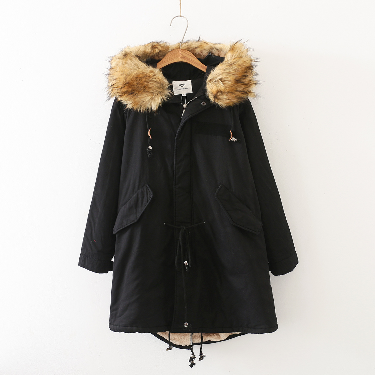 Genuine Fur Collar Long Hooded Plus Velvet Cotton Coat Women's Winter New Style Loose-Fit Versatile Cotton-padded Clothes Workwe