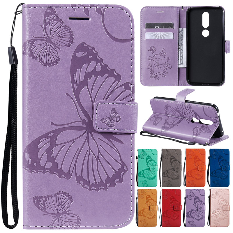 Leather <font><b>Case</b></font> on for Fundas <font><b>Nokia</b></font> 4.2 3.2 2.1 3.1 <font><b>5.1</b></font> 6.1 7.1 8.1 1 Plus <font><b>Cases</b></font> 3D Butterfly Wallet Flip Magnetic <font><b>Phone</b></font> <font><b>Case</b></font> Cover image