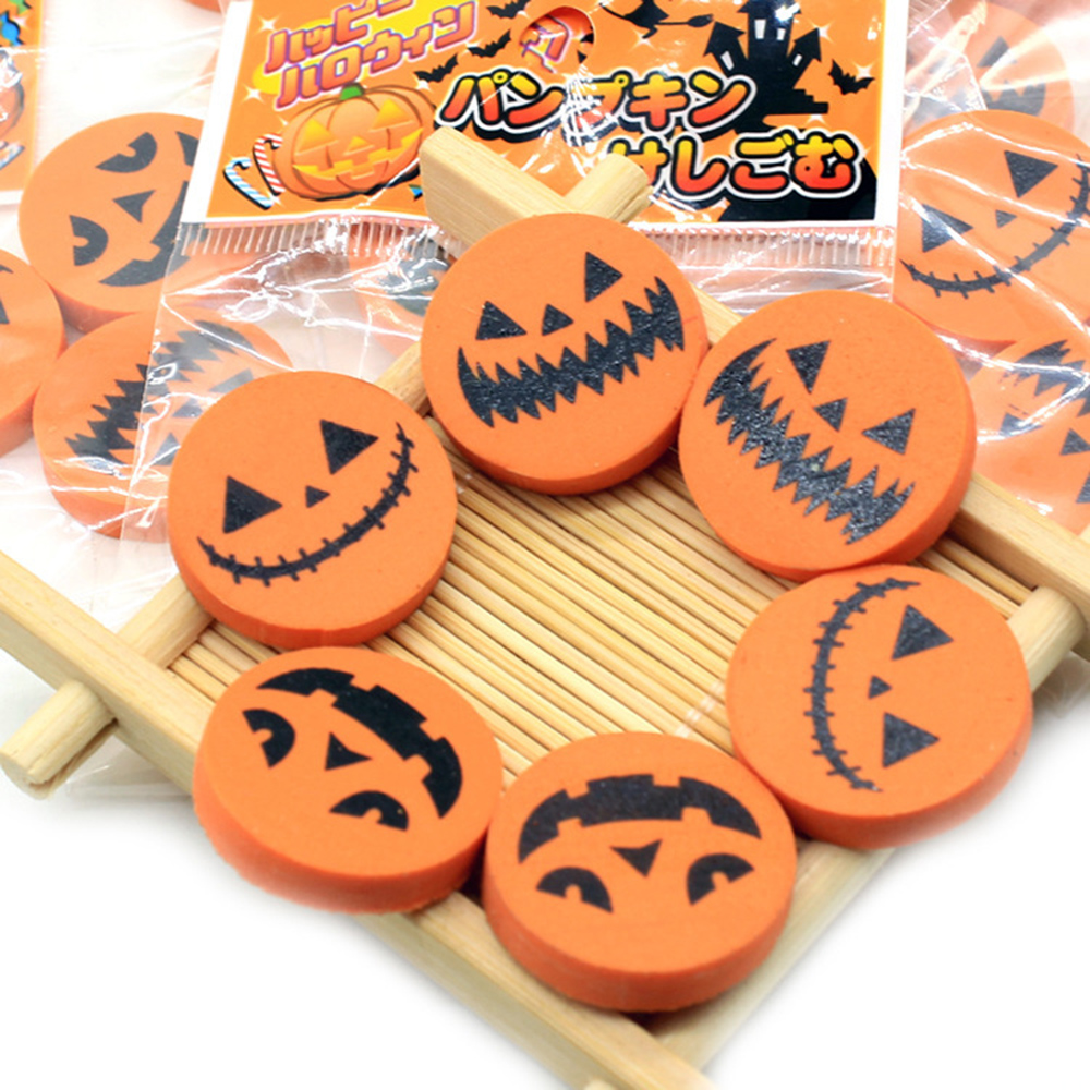 3 Pcs/pack Novelty Halloween Pumpkin Cute Style Kids Eraser Pencil Rubber Eraser Student Gift Stationery